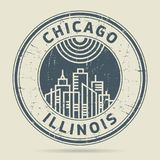 Stämpel eller etikett för Grunge rubber med text Chicago, Illinois vektor illustrationer