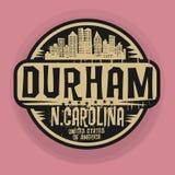 Stämpel eller etikett med namn av Durham, North Carolina royaltyfri illustrationer