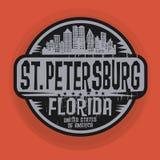 Stämpel eller etikett med namn av St Petersburg, Florida royaltyfri illustrationer