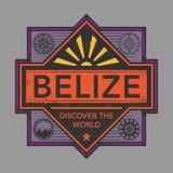 Stämpel- eller tappningemblemet med text Belize, upptäcker världen Arkivbild