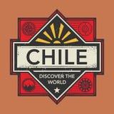 Stämpel- eller tappningemblemet med text Chile, upptäcker världen Fotografering för Bildbyråer