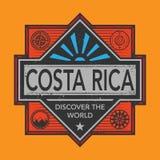 Stämpel- eller tappningemblemet med text Costa Rica, upptäcker världen Arkivfoton