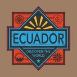 Stämpel- eller tappningemblemet med text Ecuador, upptäcker världen Royaltyfria Bilder