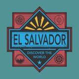 Stämpel- eller tappningemblemet med text El Salvador, upptäcker Worlen Royaltyfria Bilder