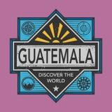 Stämpel- eller tappningemblemet med text Guatemala, upptäcker världen Arkivbild