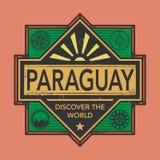 Stämpel- eller tappningemblemet med text Paraguay, upptäcker världen Royaltyfri Foto