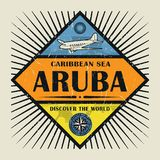 Stämpel- eller tappningemblemtext Aruba, upptäcker världen Arkivbild