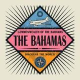 Stämpel- eller tappningemblemtext Bahamas, upptäcker världen Arkivbilder