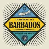 Stämpel- eller tappningemblemtext Barbados, upptäcker världen Royaltyfria Foton