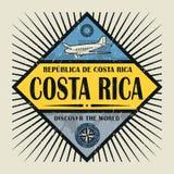 Stämpel- eller tappningemblemtext Costa Rica, upptäcker världen Arkivbilder
