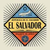 Stämpel- eller tappningemblemtext El Salvador, upptäcker världen Arkivbilder