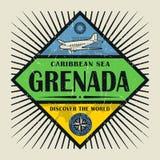 Stämpel- eller tappningemblemtext Grenada, upptäcker världen Royaltyfria Foton