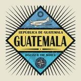 Stämpel- eller tappningemblemtext Guatemala, upptäcker världen Royaltyfri Foto