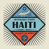 Stämpel- eller tappningemblemtext Haiti, upptäcker världen Royaltyfria Bilder