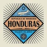Stämpel- eller tappningemblemtext Honduras, upptäcker världen Royaltyfri Foto
