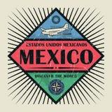 Stämpel- eller tappningemblemtext Mexico, upptäcker världen Royaltyfria Bilder