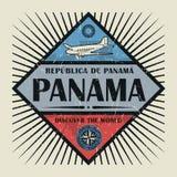 Stämpel- eller tappningemblemtext Panama, upptäcker världen Royaltyfria Bilder