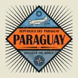 Stämpel- eller tappningemblemtext Paraguay, upptäcker världen Fotografering för Bildbyråer