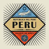 Stämpel- eller tappningemblemtext Peru, upptäcker världen Arkivfoton