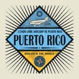 Stämpel- eller tappningemblemtext Puerto Rico, upptäcker världen Royaltyfria Foton