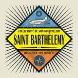 Stämpel- eller tappningemblemtext St Barthelemy, upptäcker Worlen Royaltyfria Bilder