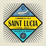 Stämpel- eller tappningemblemtext St Lucia, upptäcker världen Arkivbilder