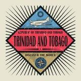 Stämpel- eller tappningemblemtext Trinidad och Tobago, upptäcker Wen Arkivbilder