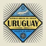 Stämpel- eller tappningemblemtext Uruguay, upptäcker världen Royaltyfria Foton