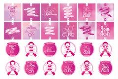 stämpel för fund för find för bröstcancerbotslagsmål post stock illustrationer