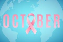 stämpel för fund för find för bröstcancerbotslagsmål post Medvetenhetmånad pink bandet gammal värld för illustrationöversikt Bane royaltyfri illustrationer