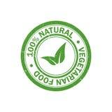 stämpel för grunge 100% för naturlig mat rubber Vegetarisk matsymbol vektor Arkivbilder