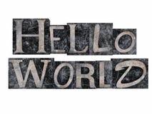 Stämpel för Hello världsskrivmaskin Arkivfoton