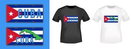 Stämpel för Kubabilregistreringsskylt och t-skjortamodell Royaltyfri Foto