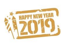 Stämpel för lyckligt nytt år för vektor 2018 med fyrverkerisymbol stock illustrationer