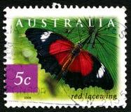 Stämpel för porto för röd Lacewingfjäril australisk Arkivfoton