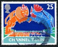 Stämpel för porto för UK för kanaltunnel Fotografering för Bildbyråer