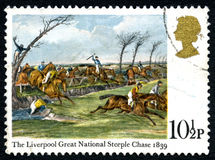 Stämpel 1839 för porto för UK för Liverpool stor nationell kyrktornjakt Arkivfoto
