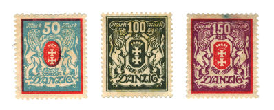 Stämpel för porto tre av Danzig för september 1939 Arkivbild