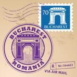 Stämpel fastställda Bucharest vektor illustrationer