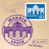 Stämpel fastställda Madrid vektor illustrationer