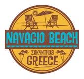 Stämpel med den ordNavagio stranden, Grekland skriftlig insida stock illustrationer