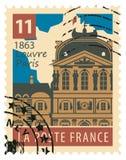 Stämpel med den Paris Louvre vektor illustrationer