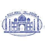 Stämpel med den Taj Mahal slotten, besök Indien stock illustrationer