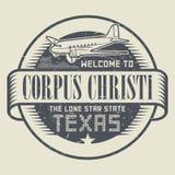 Stämpel med flygplan- och textvälkomnande till Texas, Corpus Christi stock illustrationer