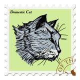 Stämpel med katten Royaltyfria Bilder