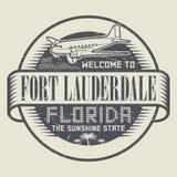 Stämpel med textvälkomnandet till Fort Lauderdale, Florida stock illustrationer