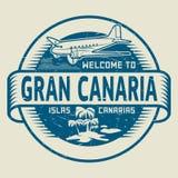 Stämpel med textvälkomnandet till Gran Canaria, kanariefågelöar Arkivfoton