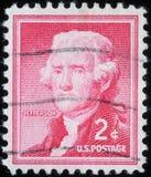 Stämpel som skrivs ut i Amerikas förenta statershowerna Thomas Jefferson Arkivbild