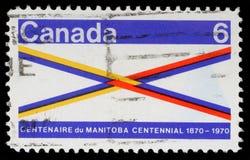 Stämpel som skrivs ut i Kanada som hedrar den Manitoba hundraårsjubileet fotografering för bildbyråer