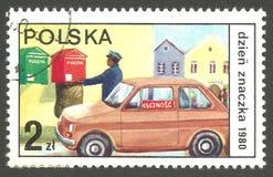 Stämpeldag, postvarubil arkivbild
